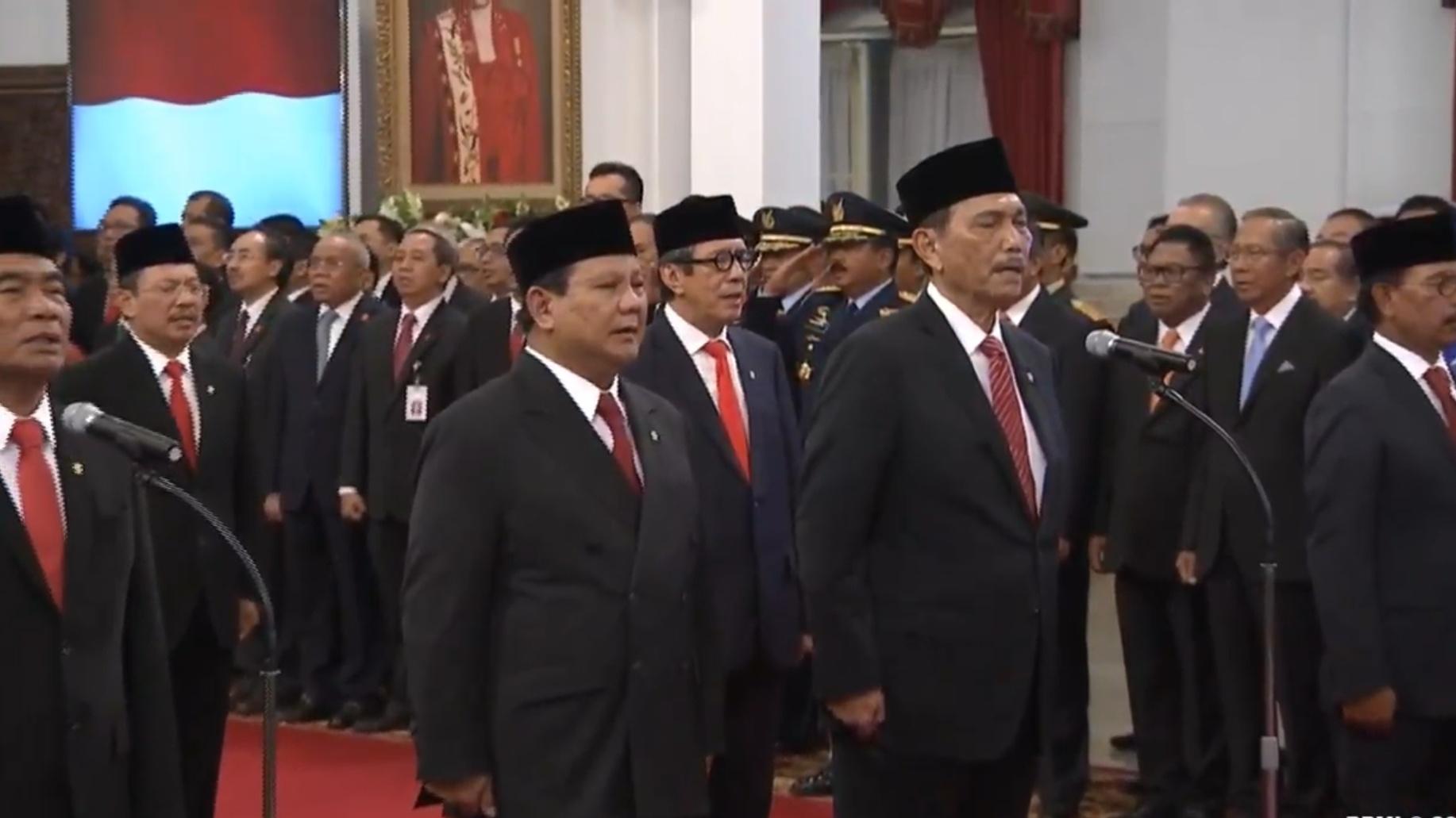 Sumpah Jabatan dan Pelantikan Menteri Kabinet Indonesia Maju